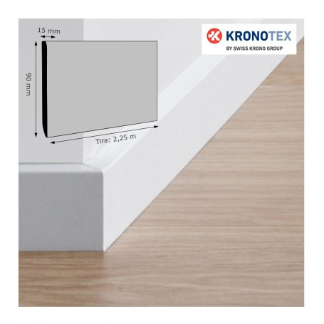 Rodapié Kronotex Lacado Blanco 90 X 15 mm