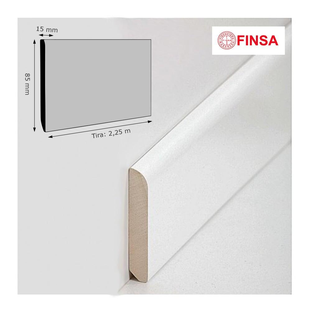 Rodapi finsa lacado blanco 85 x 15 mm - Precio rodapie blanco ...